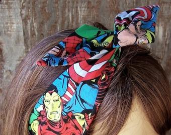 MARVEL COMIC HEADBAND Extra Wide Wire Hair Tie Wire Hair Wrap Bandana Dolly Bow Hat band Comic Nerd Gift The Avengers womens headband