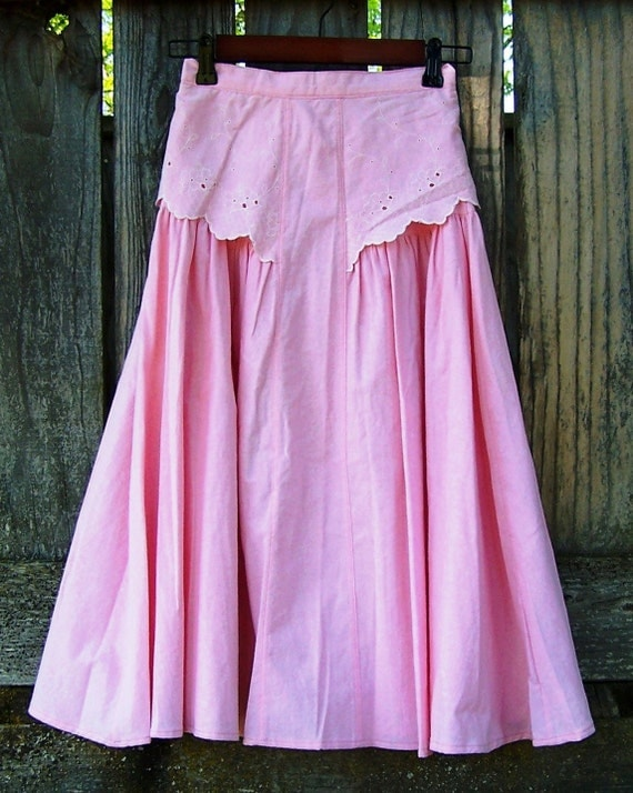 Pink square dance skirt eyelet trim western high waisted gathered twirly skirt lightweight cotton size xs small