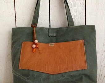 waxed green canvas bag with leather, shoulder bag, tote bag