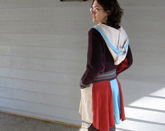 ON SALE!! Upcycled Multi-Colored Hooded Wool Jacket - S/M