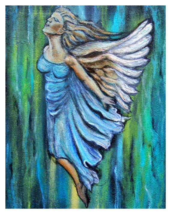 Muriel, An Ascending Angel Original Fine Art 8 by 10 print  by Charlotte Phillips