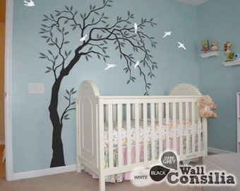 "Baby Nursery Wall Decals - Willow Trees Decal - Tree Wall Decal - Tree Wall Decals - Tree Wall Decal with Birds - Large: appx. 58""x85"" KC028"