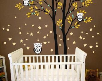 "Baby Nursery Tree Wall Decal Wall Sticker - Owl Tree Wall Decal - Owls, Stars and Tree Decals - Large: approx 93"" x 69"" - KC035"