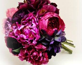 Peony & Hydrangea Bouquet - Bridal Bouquet, Dark Pink, Fuchsia, Pink, Purple, Peony Bouquet, Ruffle, Shabby Chic, Vintage Bouquet