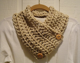 Crochet Scarflette Cowl Tan Two Wood Buttons Neckwarmer Scarf