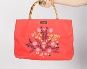 Vintage Kate Spade Tiki Summer Bamboo Coral Handbag w Embroidered Floral Motif  AS IS