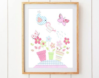 Birds and Butterflies Nursery Art - Pink, Green and Blue Nursery Decor - Nursery Art