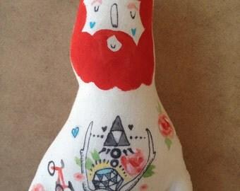 Small Hipster Boyfriend Doll- Handmade Plush- Beard- Red Softie
