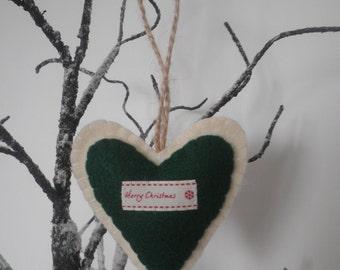 MERRY CHRISTMAS  - Handmade Green and Cream Felt Heart - Twine Hanging