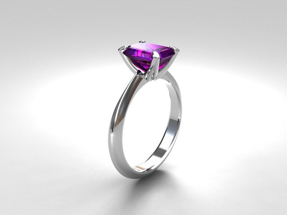 emerald cut amethyst engagement ring by torkkelijewellery
