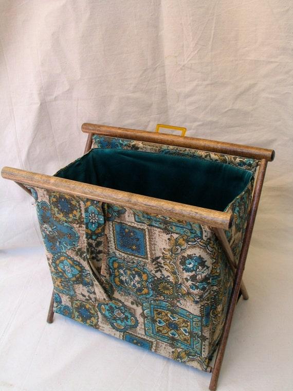 Vintage Folding Knitting Basket : Folding knitting basket vintage cloth sewing