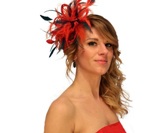 Red and Teal Blue Feather Fascinator Hat - wedding, ladies day - choose any colour feathers and satin