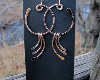OOAK Hand Forged Tri-Colour Water Earrings