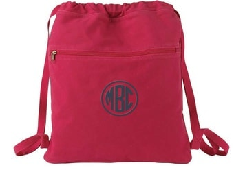 Monogrammed Cinch Sack -  Personalized Canvas Drawstring Bag in 7 colors