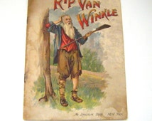 Rare 1880's Rip Van Winkle By Washington Irving Softcover Book Illustrated Mc Loughln Bros New York
