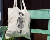 Lightweight 100% Cotton Tote Bag Natural Color with vintage girl print - mmmfantasiadealgodon