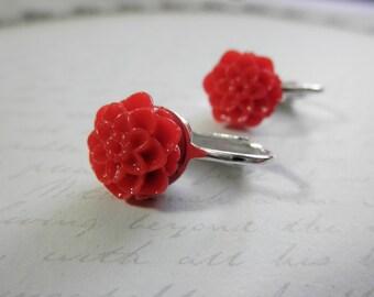 Girls Red Mum Clip on Earrings