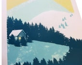 Colourful Screen Print - 'Mountain Scene No.2'