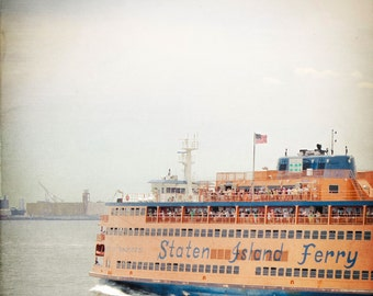 Staten Island Ferry Photo - NYC Photography - Vintage, Blue, Orange - New York City Photo - Staten Island - Vintage NYC Photo