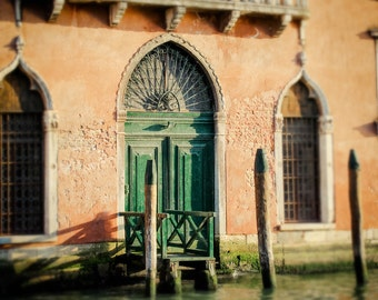 Venice Photography - Grand Canal - Sunset - Tuscan Orange, Forest Green - Italy Photography - Venezia