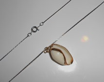 Vintage shell necklace, A Conch Necklace sea shell with gold leaf