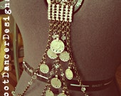 LAYAWAY for Amanda Installment 2: Rhinestone and Faceted Crystal Full Body Drape with Ethnic Coins  - Belly Dance, Ethnic, Earthy Glamour
