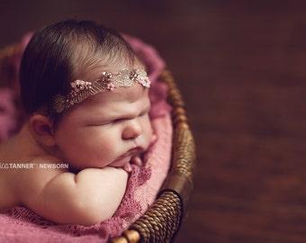 Embroidered Lace Headband, Baby Photo Prop, Pink Beaded Headband, Newborn Beaded Headband, RTS