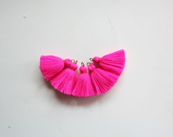 Hot Pink MINI TASSELS,Small Cotton Handmade Jewelry Making Tassels Supplies,Colorful Short Jewelry Tassels, MALA Bracelet Tassels No13
