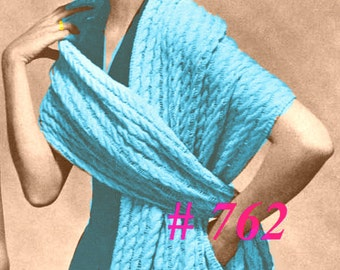 Almost FREE Vintage 1950s Sensational Cables Stole Wrap Shawl 762 PDF Digital Knit Pattern