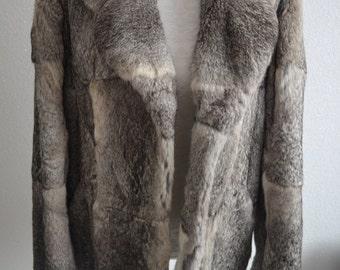 VINTAGE rabbit fur grey white coat super soft and warm