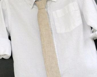 Little boy Tie, boys linen necktie, childs khaki tie, childs hipster skinny tie, boys burlap tie, baby skinny tie, toddler skinny tie