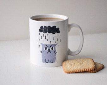 Grumpy Cat Mug in Grey & Charcoal, Sad Cat in Rain, Rainy Cat with Cloud Cup