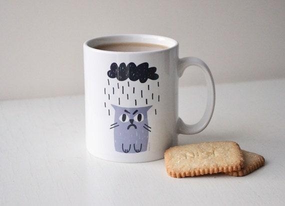 Grumpy Cat Mug in Grey & Charcoal
