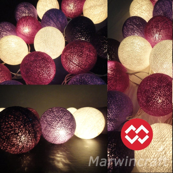 20 Big Cotton Balls Mixed Purple Tone Fairy String Lights Party Patio Wedding Floor Table or Hanging Gift Home Decor Christmas Bedroom