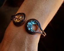 Sun and Moon Bracelet -Bismuth Jewelry -Copper Bracelet - Boho Bracelet - Celestial Jewelry - Crystal Bracelet - Mother's Day Gift