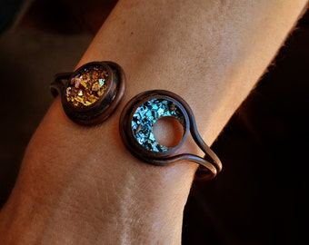 Sun and Moon Bracelet - Solar Eclipse - Bismuth Jewelry Copper Cuff Bracelet - Celestial Jewelry - Crystal Bracelet -Unique Anniversary Gift