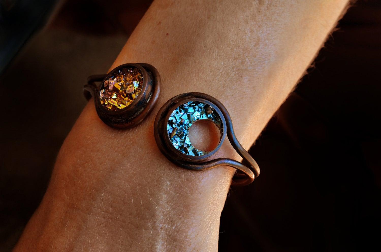 sun and moon bracelet bismuth jewelry boho copper cuff