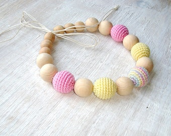 Sale Light color nursing necklace,Teething necklace,Pastel color,Crochet necklace,Eco-friendly,Gift for mother,Soft color,Organic wood beads