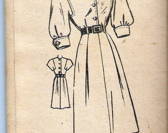 """Vintage 1940's American Weekly Mail Order Pattern 3852 Shirtwaist  Dress  Sewing Pattern Size 18 Bust 36"""" UNCUT"""