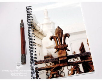 Fleur de Lis Notebook - Spiral Journal - New Orleans Journal - theRDBcollection