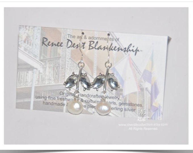 Sparkly Leaf & Pearl Earrings - Limited Edition