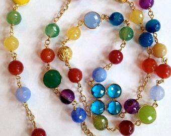 Long Statement Necklace, Green Yellow Blue, Burgundy, Purple Crackled Agate, Bezel Gemstone Enhancer 24K Vermeil Bali Balls and Bead Caps