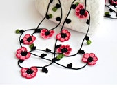 Crochet Necklace Cherry Blossom Burgundy Pink Flowers Oya Beaded Lariat Jewellery, Beadwork, Crochet ReddApple, Fast Delivery