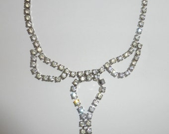 Vintage 1950's White Rhinestone Bow Silver Collar Necklace