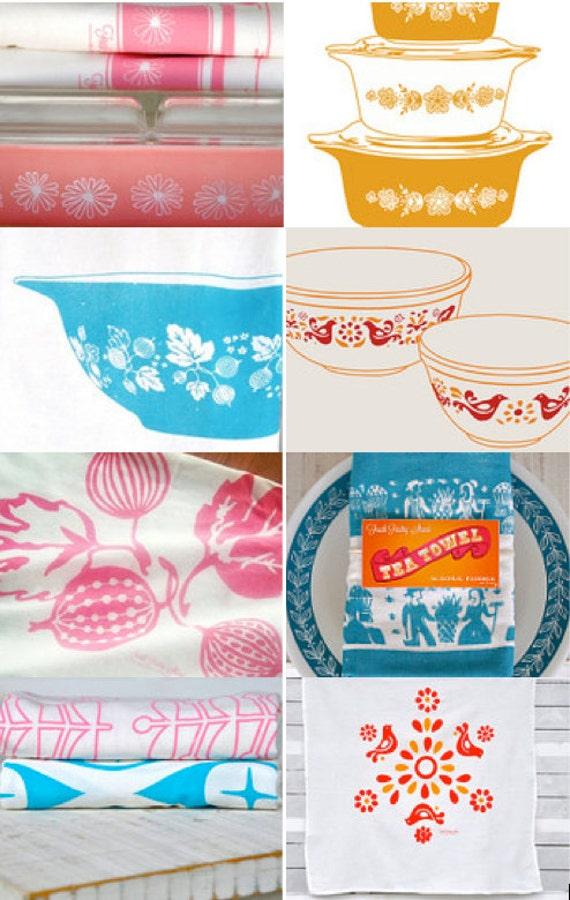 Tea Towel Subscription: 12 months, 12 Pyrex Tea Towel Designs, Flour Sack Tea Towel Printed With Water Based Innk