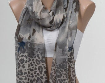 NEW Gray Floral and Gray Leopard SCARF with fringe. Elegant Shawl. Gray and Beige and Dark Blue.
