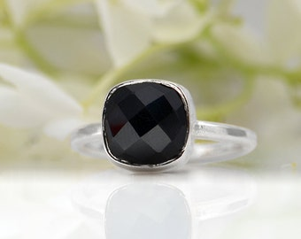 Black Onyx Ring, Gemstone Ring, Stacking Ring, Sterling silver Ring, Square Ring, bezel Set Ring, cushion cut ring, black onyx jewelry