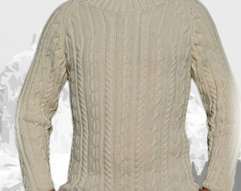 "Pure Cashmere Sweater for Men ""Whistler Mountain"", hand knit with cables and turtle neck - MADE TO ORDER"