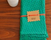 Handmade Cotton Cloth Napkins - Set of 4 - Emerald Polka Dots