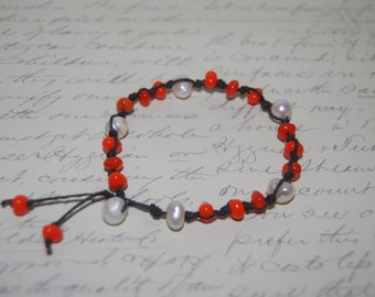Freshwater Pearl , Orange  Glass Chips on Dark Brown Cord Bracelet.